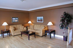 Living room is staged by Debra Gould using what was already there in new ways